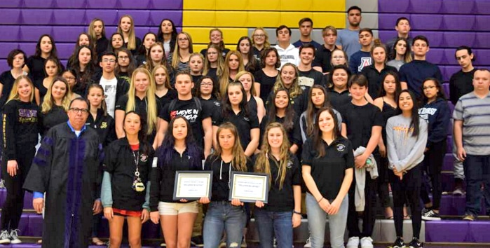 Sabino Student Council receiving the Arizona Association of Student Councils' Outstanding Council of Distinction Award